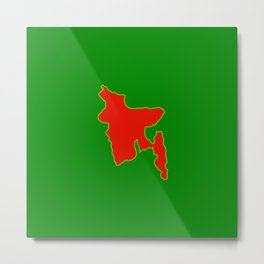 Map of Bangladesh with in red and green flag colors Metal Print