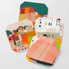 italy coast houses minimal abstract painting Coaster