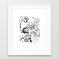 knitting Framed Art Prints featuring Knitting by The Pearly Owl