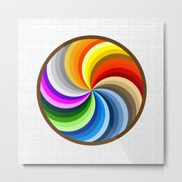 Rainbow Swirl Multi-Coloured Circle Design Metal Print