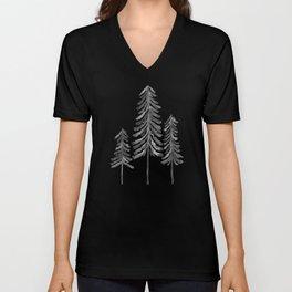 Pine Trees – Black Ink Unisex V-Neck
