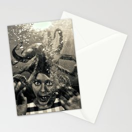 Underwater Nightmare Black and White Stationery Cards