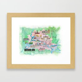 Berlin Germany Map Travel Poster Overview Best Of Typical Highlights Framed Art Print