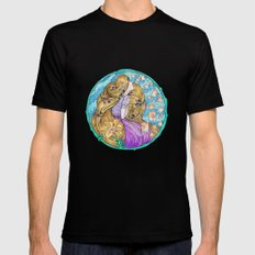 Rapunzel Art Nouveau White Background Black Mens Fitted Tee LARGE