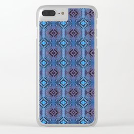 Blue Southwestern Style Doodle Pattern Clear iPhone Case