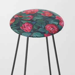 Camellias, lips and berries. Counter Stool