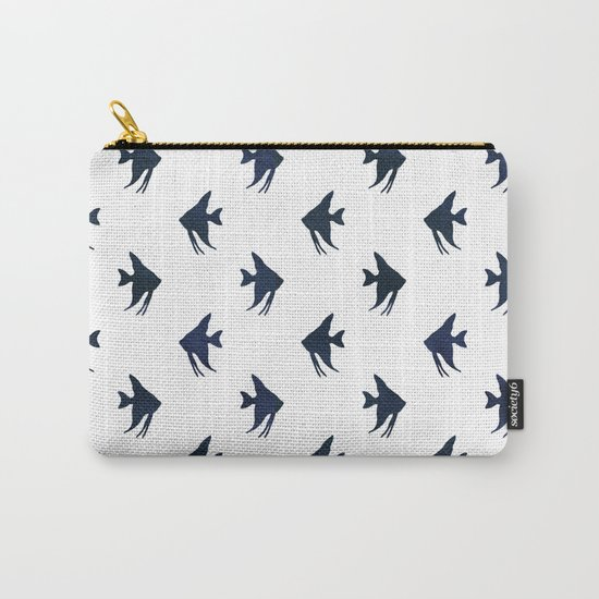 Navy blue and white maritime sea fish animal pattern on #Society6 Carry-All Pouch