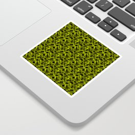 Stylish design with rotating circles and yellow rectangles from dark stripes. Sticker