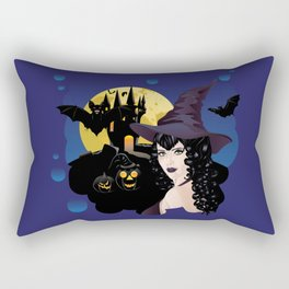 Black witch and castle Rectangular Pillow