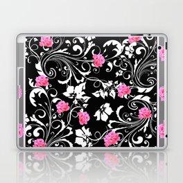BEAUTIFUL PINK GREY-BLACK ROSE SCROLLS Laptop & iPad Skin