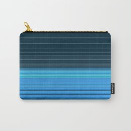 The ocean, abstract horizontal linework in blue. Carry-All Pouch