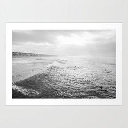 Surfers in the Water Manhattan Beach California Photography Art Print