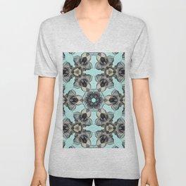 Black Glass Rose Pattern Unisex V-Neck