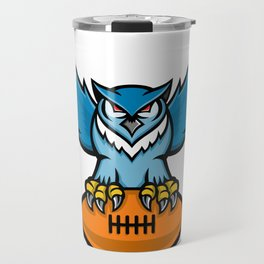 Great Horned Owl American Football Mascot Travel Mug