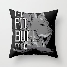 Pit Bull Face Dog American Bully Gift Throw Pillow