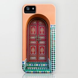 Moroccan Tile Mosaic Door in Marrakech, Morocco iPhone Case