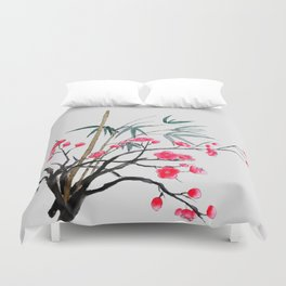 bamboo and red plum flowers Duvet Cover