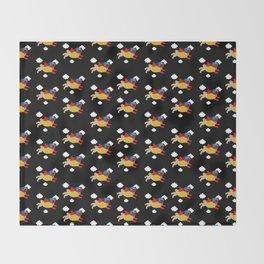 Lucha Libre Pug (Black BG) Throw Blanket