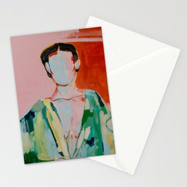 Woman red and green Stationery Cards