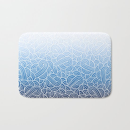 Ombre blue and white swirls doodles Bath Mat