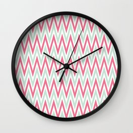 Zigzag pattern - blue and  pink Wall Clock