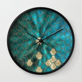 Multicolor Aqua And Gold Mermaid Scales -  Beautiful Abstract Pattern Wall Clock