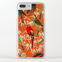 Tropical Birds - Orange Clear iPhone Case