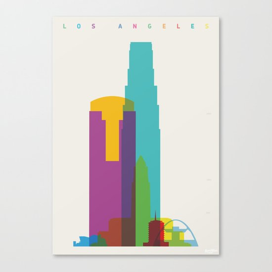 Shapes of Los Angeles accurate to scale Canvas Print