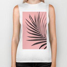 Simple black palm leaves with pink Biker Tank