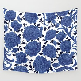 Cobalt blue flowers Wall Tapestry