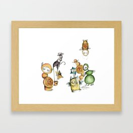 Little monsters family Framed Art Print