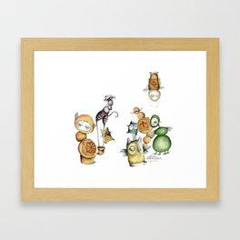 Little monsters family Framed Art Print