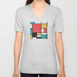 Clean Mondrian (Sponge) Unisex V-Neck