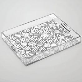 Field of daisies - gray Acrylic Tray
