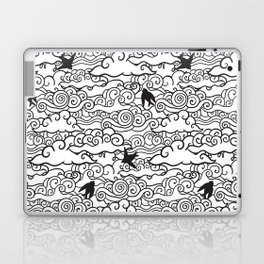 Doodle clouds and swallows. Cloudscape pattern with birds. Laptop & iPad Skin