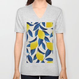 Yellow Limons and Blue Leaves Unisex V-Neck