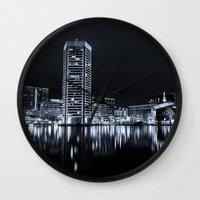 baltimore Wall Clocks featuring Baltimore Nights... by Jon Bilous