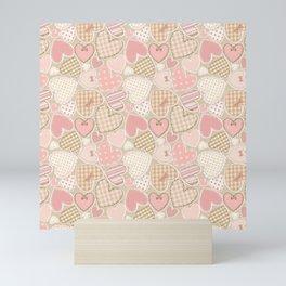 Patchwork Hearts Pattern Mini Art Print