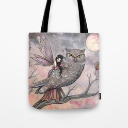 Friendship Fairy and Owl Autumn Fantasy Art by Molly Harrison Tote Bag