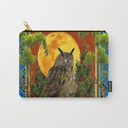 WILDERNESS OWL WITH FULL MOON & TREES TURQUOISE Carry-All Pouch