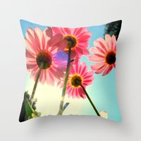 mandie manzano Throw Pillows featuring dancing in the sun by RichCaspian