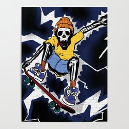 Wicked Electrocuted Skeleton Boy Poster