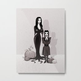 Morticia and Wednesday Metal Print