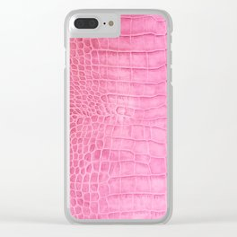 Croco leather effect - sweet pink Clear iPhone Case
