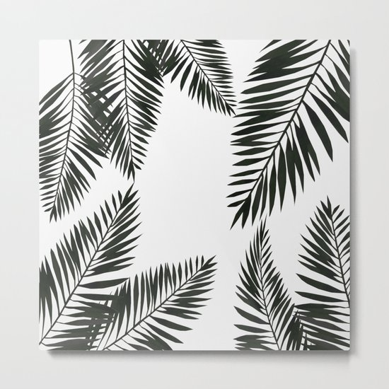 Black Watercolor Tropical Leaves Metal Print