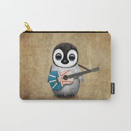 Baby Penguin Playing Newfoundland Flag Acoustic Guitar Carry-All Pouch