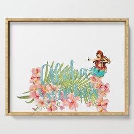 Aloha- Alohabeaches with tropical flowers Palm leaf and Hula Girl Serving Tray