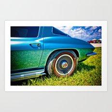 Blue Chevrolet Corvette Sting Ray Art Print