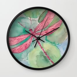 Pink Dragonfly with Lily Pads Wall Clock