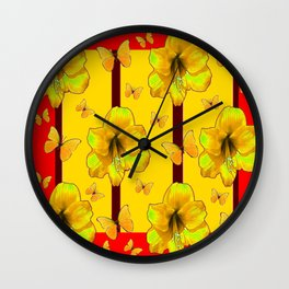 """FOR THE LOVE OF BUTTERFLIES"" RED-YELLOW ART Wall Clock"